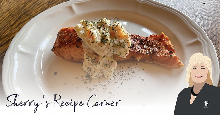 Salmon with Garlic Cream Sauce
